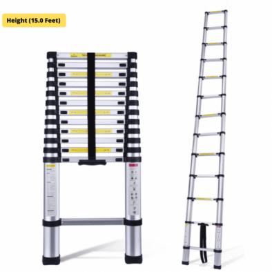 BKR® 15 Ft Finger Protect Aluminium Folding & Extended Telescopic Ladder