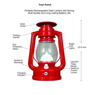 BKR® Plastic LED Solar Lantern Emergency Light