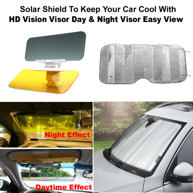 Solar Shield To Keep Your Car Cool With Car Sun Visor Goggles For Driver Day & Night Anti-dazzle Mirror - CMB0014