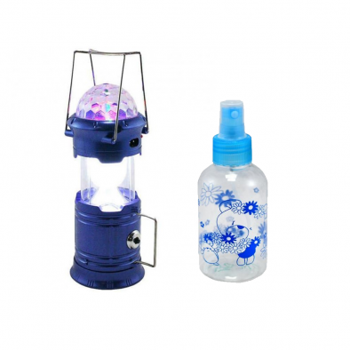 LED Rechargeable Lantern With Special DJ Disco Stage Light And Torch USB Charging With Travel Spray Bottle 150ml - CMB0015