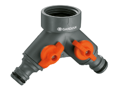 GARDENA 938-20  Y-Type Two Way Connector 3/4 inch female Inlet connect and 16mm male Outlet