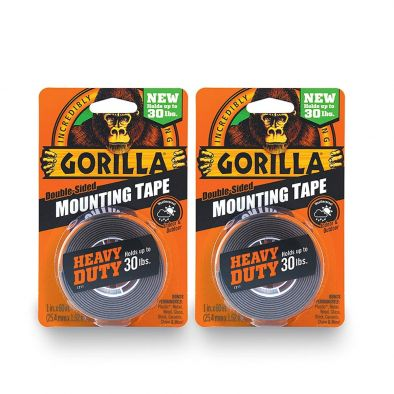 Gorilla 6055001-2 Double-Sided Heavy Duty Mounting Tape (2 Pack) Black HM0618