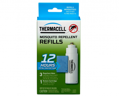 Thermacell R-1 Mosquito Repeller Refill, 12 Hour Pack (3 Repellent Mats and 1 Butane Cartridge) - HM0385