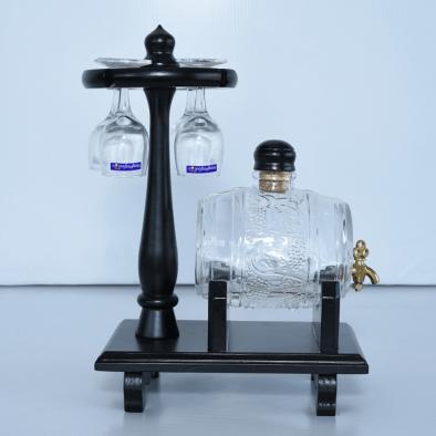Bourbon Barrel Liquor Decanter WITH 4 Hanging Wine Glass Holder