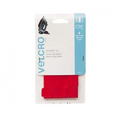"VELCRO Brand - ONE-WRAP: For Cables, Wires & Cords - 15"" x 1/2"" Ties, 6 Ct. - red-color - HM0505"