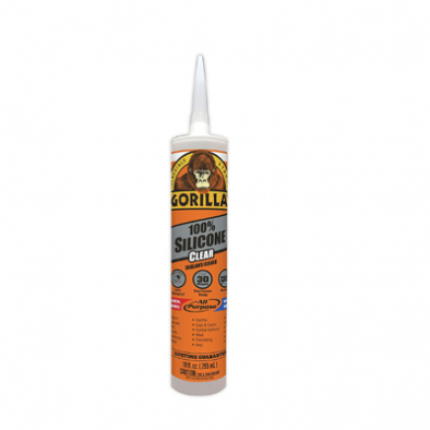 Gorilla Clear 100 Percent Silicone Sealant Caulk, Waterproof and Mold & Mildew Resistant, 10 Ounce Cartridge, Clear HM0626