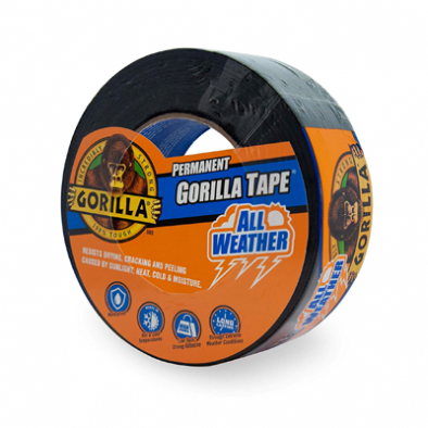 "Gorilla All Weather Outdoor Waterproof Duct Tape, UV and Temperature Resistant, 1.88"" x 25 yd, Black HM0627"