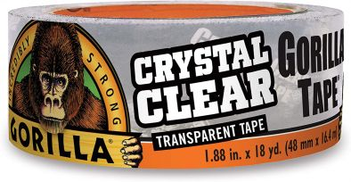 "Gorilla Crystal Clear Duct Tape, 1.88"" x 18 yd, Clear HM0629"