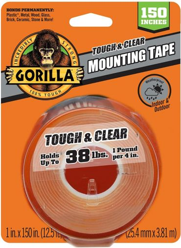 Gorilla Tough & Clear Double Sided XL Mounting Tape, 1 inch x 150 inches, Clear HM0630