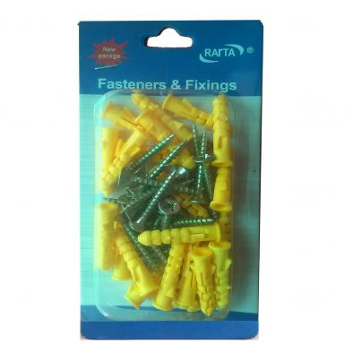 Assorted Screw with Plug -10 Pcs/ 8 x 60 cms - HM0141