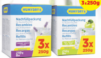 Humydry Dehumidifier Refills 3 X 250 gm Pack Lavender Made In Spain