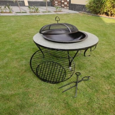 BKR Barbecue With Solid Marble Base And  A Chimney Iron Round Stone Firepit