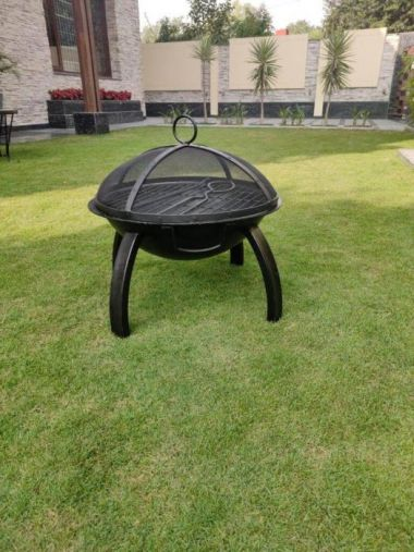 BKR® Firepit Round With Skewers For Barbecuing Outdoor Firepit Bowl