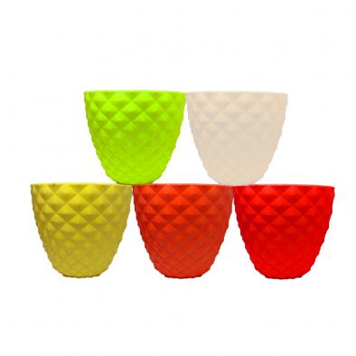 "BKR® Exclusive Home and Garden Big Kohinoor Plastic Pot 6"" Set of 5 PCS in Assorted Colours LG0437"