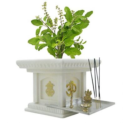 BKR® Jagan Hardware Fiber Tulsi Planter Pot Look Like Real Marble, Light Weight Highly Resistant to Breakage - LG0475