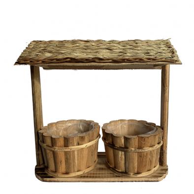 BKR® Wooden Pot 2 Pots In wooden Shed LG0672