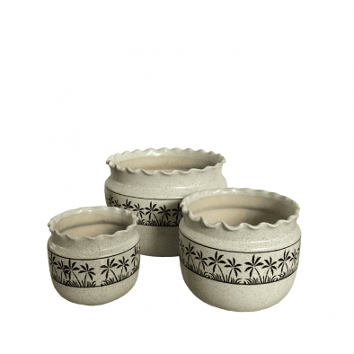 BKR Round Ceramic Planter Pot Set of 3 pcs LG0704
