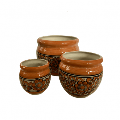 BKR Round Ceramic Planter Pot Set of 3 pcs Multicolour LG0705