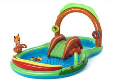 """DIVI DIVINE Bestway Friendly Woods Play Center with Cusione Floor & 10 Multicolour Balls (9'8"""" x 6'6"""" x 51""""/2.95m x 1.99m x 1.30m) Inflatable Swimming Pool  (Multicolor)"""