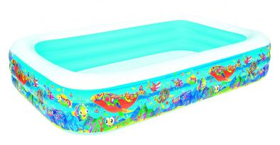 Bestway Inflatable Swimming Pool for Kids 10 Feet Big Size Rectangular Family 10 Feet | Sea Creatures | 10 Feet X Width 72 Inch x Height 22 Inch