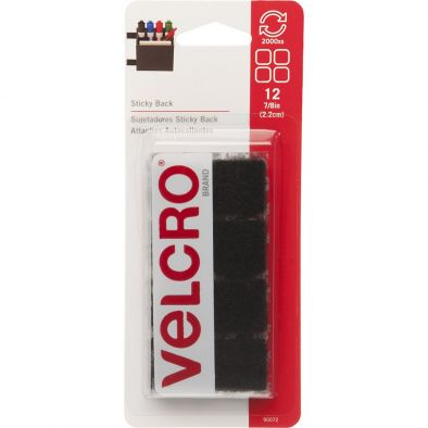 Velcro Consumer Pdts 90072 Sticky Back Fasteners, Black, 7/8-In. Squares, 12-Ct. - HM0672