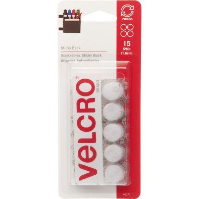 "VELCRO Brand - Sticky Back - 5/8"" Coins, 15 Sets - White"