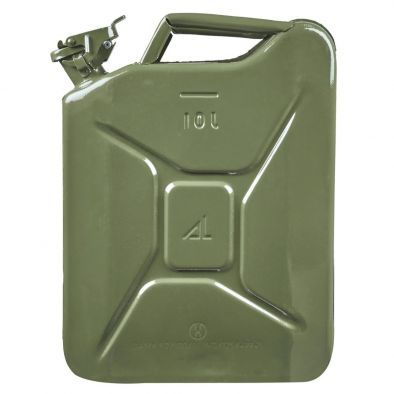 BKR 10 Liter Green Metal Jerry Can, for Generators, Jeeps and Other Vehicles CA0159