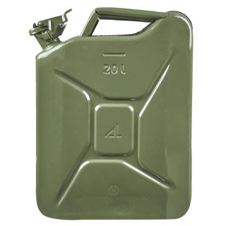 BKR® 20 Liter Green Metal Jerry Can, 14 Inch x 6 Inch x 18 Inch for Generators, Jeeps