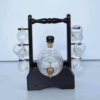 Bourbon Barrel Liquor Decanter WITH 6 Hanging Wine Glass Holder