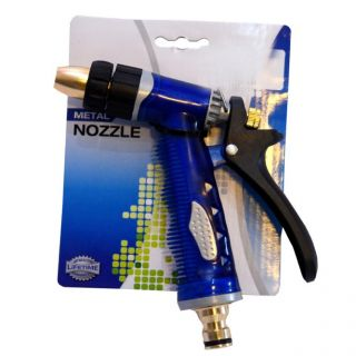 METAL NOZZLE WATER SPRAY GUN- BRASS HEAD- BLUE