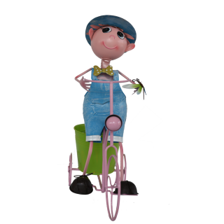 BKR® Boy on Cycle With Flower stand Decoration - 2 assorted Models - LG0366